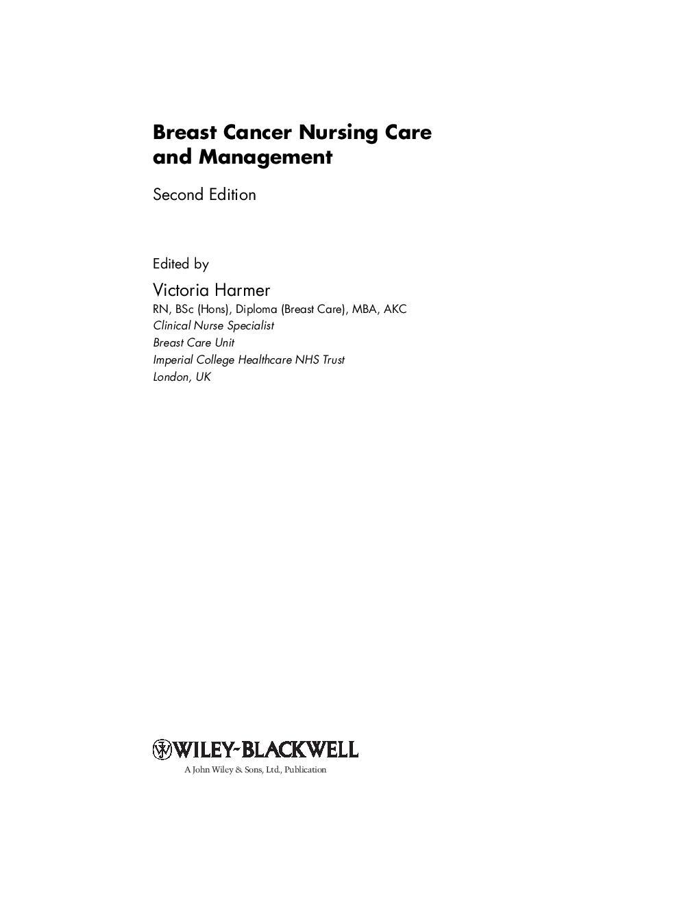 Breast Cancer Nursing Care And Management 2nd Ed - V  Harmer