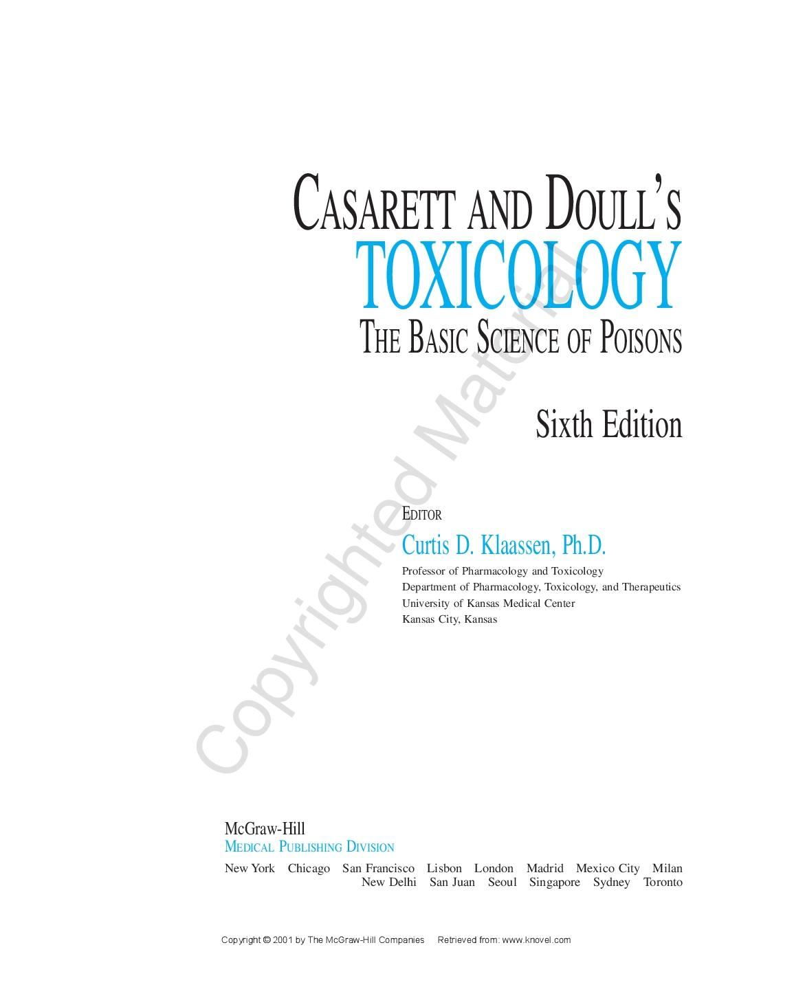 Poisoning And Toxicology Pdf For
