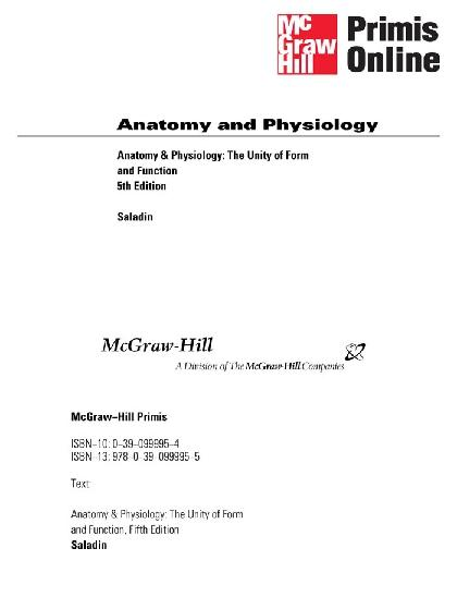 Anatomy And Physiology - The Unity Of Form And Function 5th Ed ...